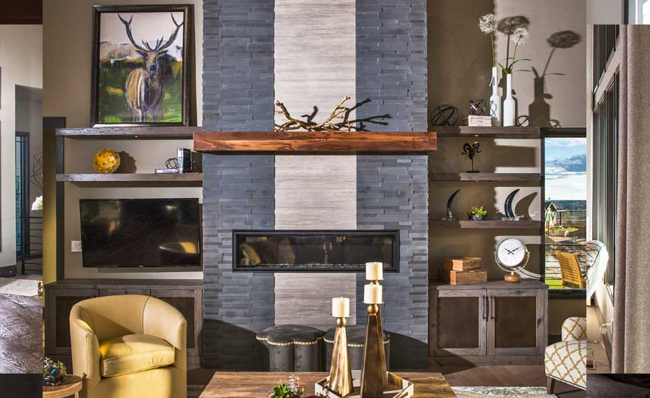 Basalt Stone Panel Fireplace in Fort Collins, CO