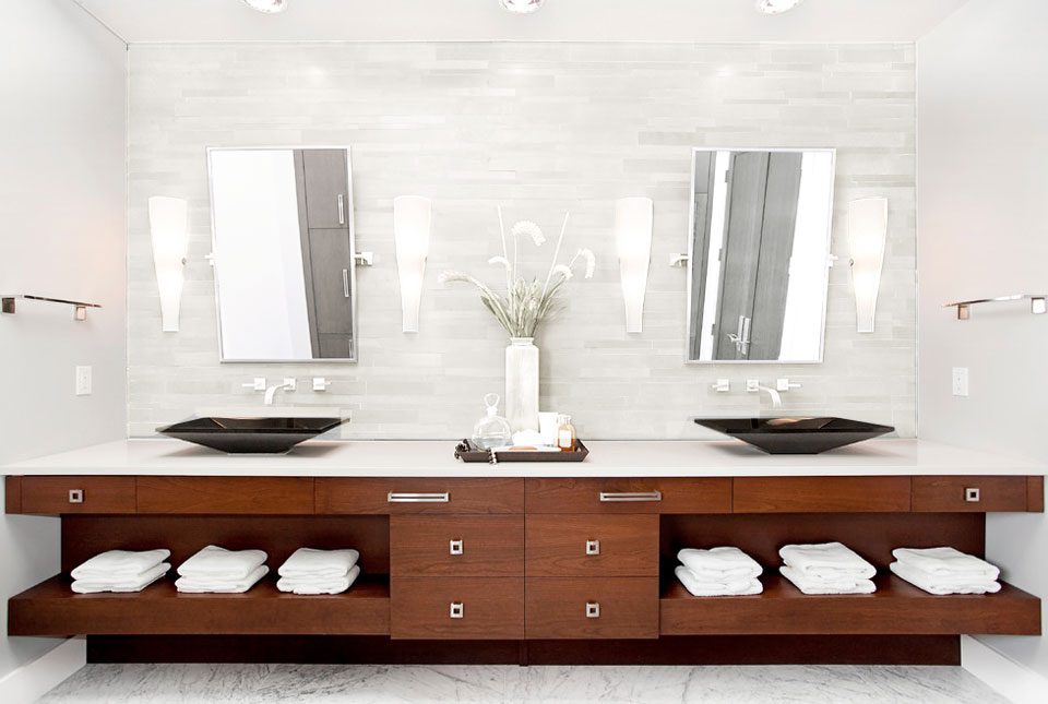 Norstone White Lynia Mosaic Wall Tiles on backsplash of a large modern bathroom