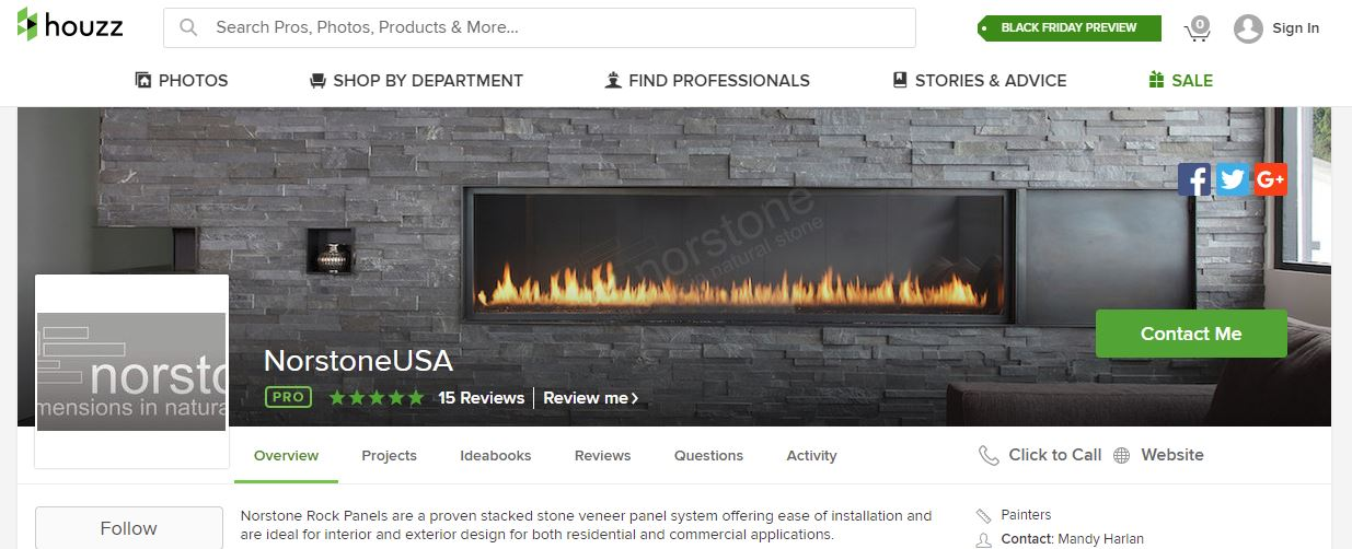 Houzz Home Screen with FIND PROFESSIONALS button on main navigation banner