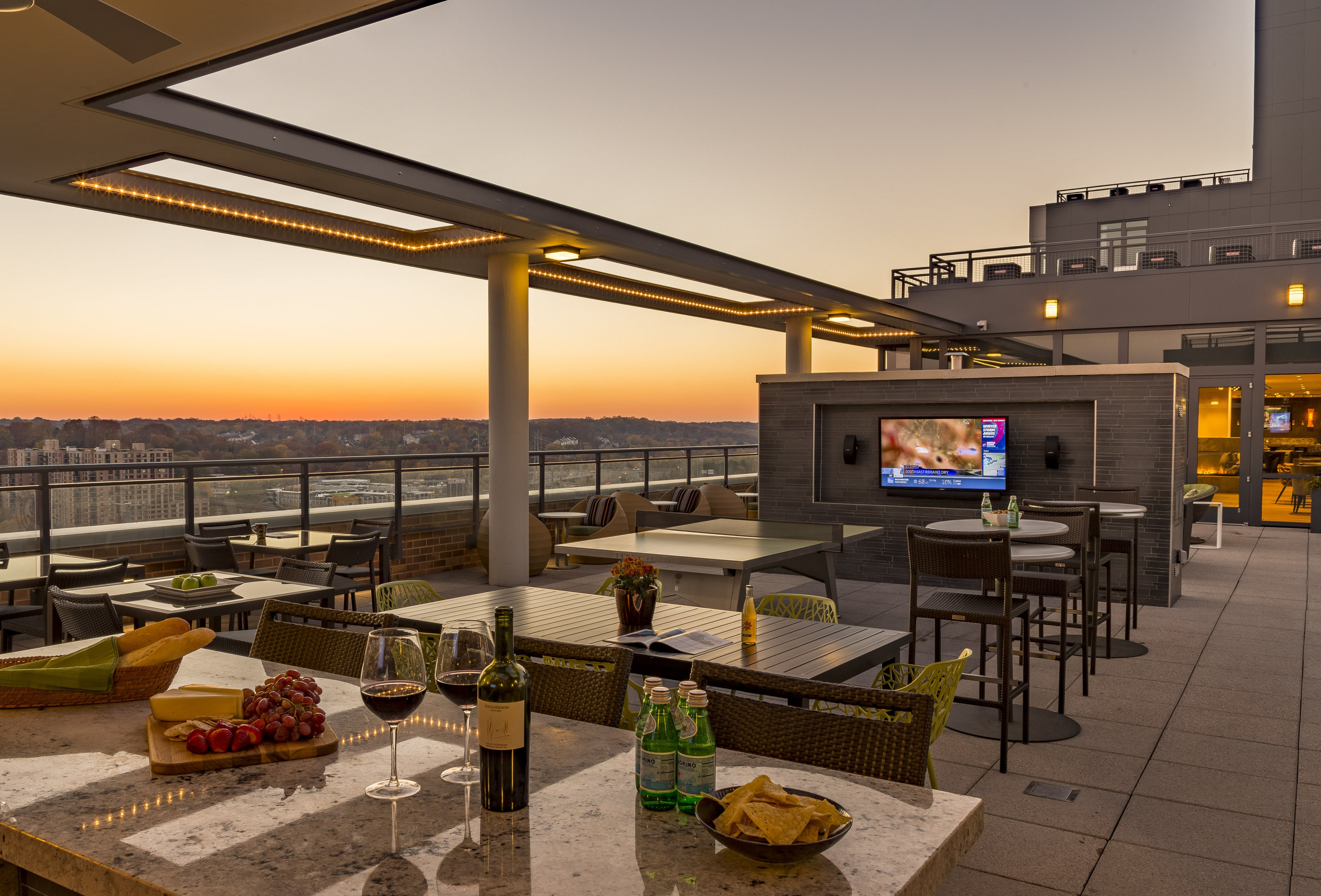 Norstone Lynia Basalt Interlocking Tile used on a focal wall in an upscale rooftop lounge in Washington, D.C.