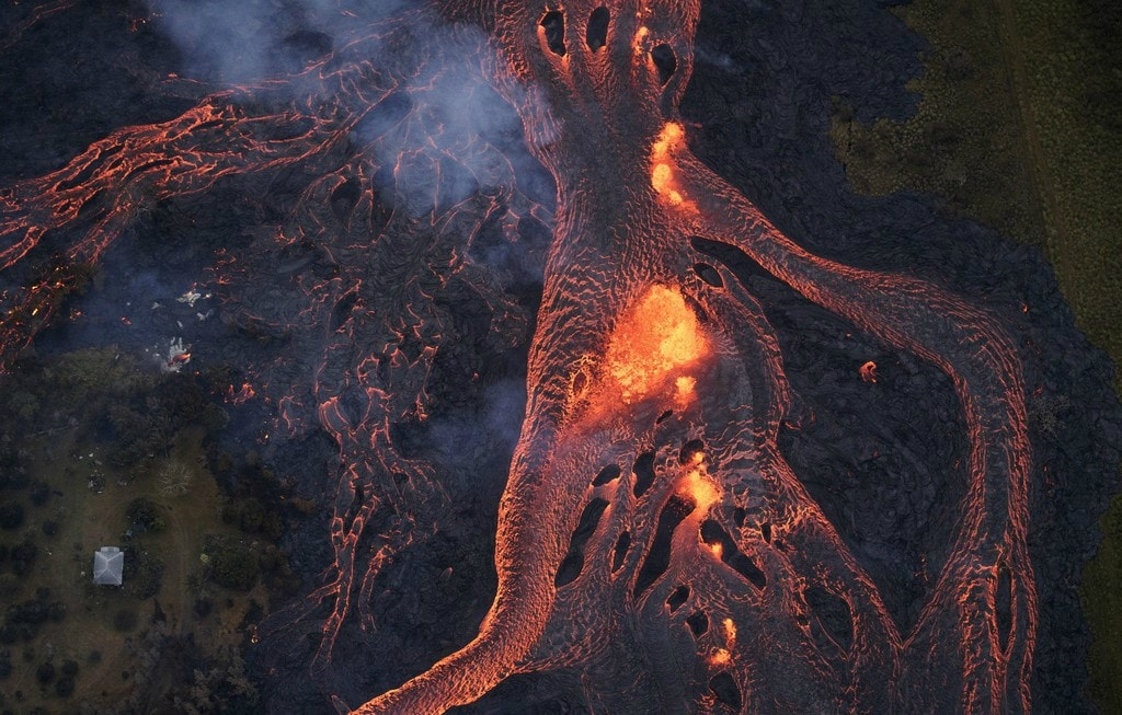 Lava Flow from Kilauea volcano in Hawaii May 2018 that will eventually become Lava Stone