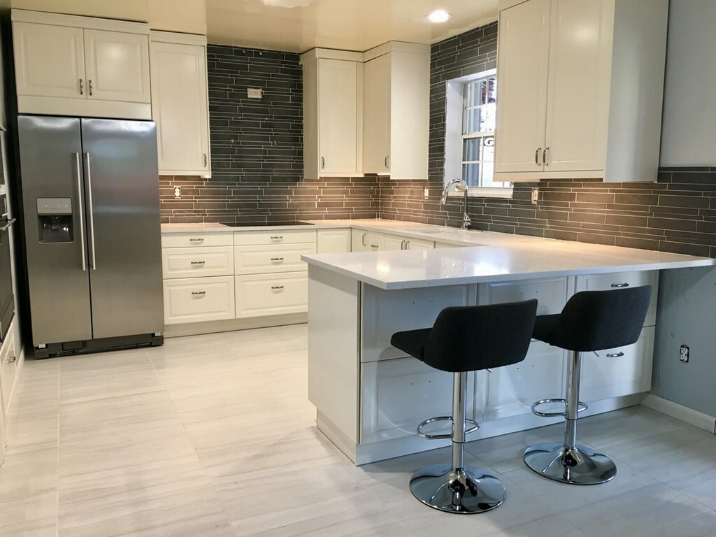 Norstone Interlocking Tile Backsplash in a Modern Kitchen Remodel Project