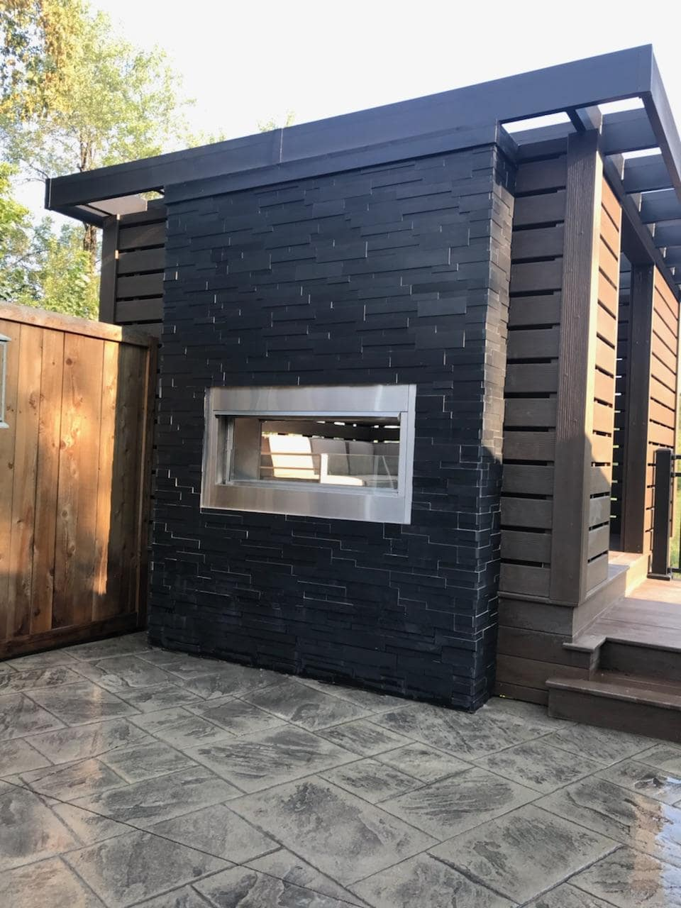 Ebony Aksent Natural Stone Veneer Exterior Two Sided Fireplace
