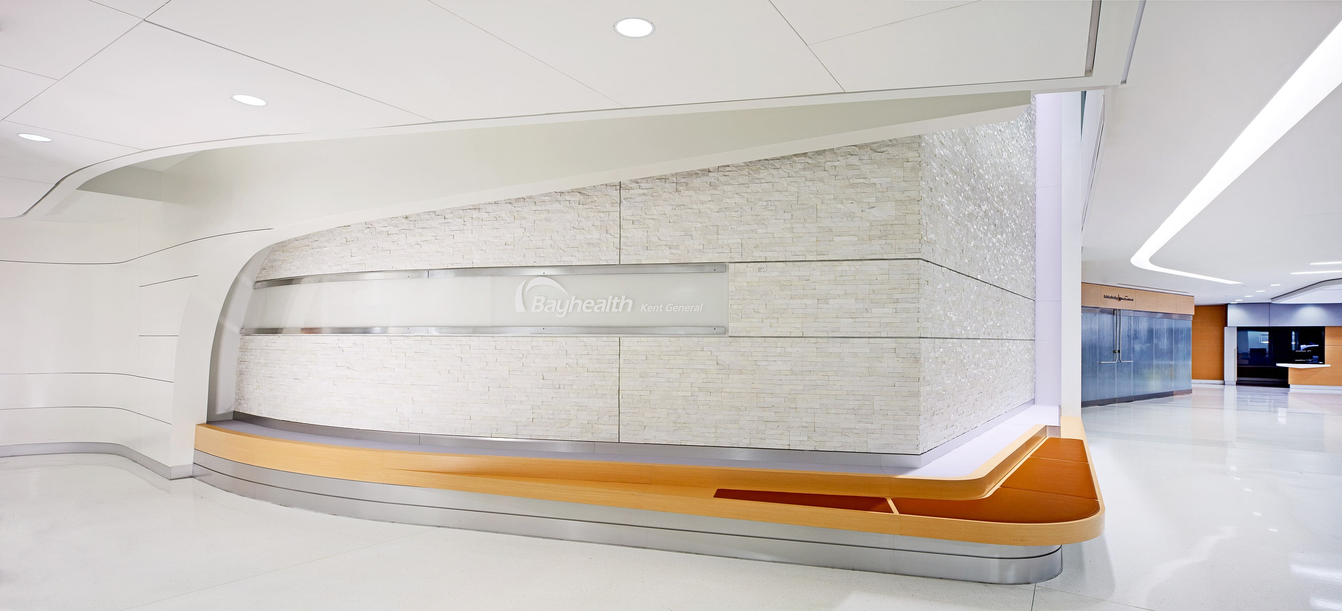 White Stacked Stone Veneer used in a large two sided feature wall in a hospital
