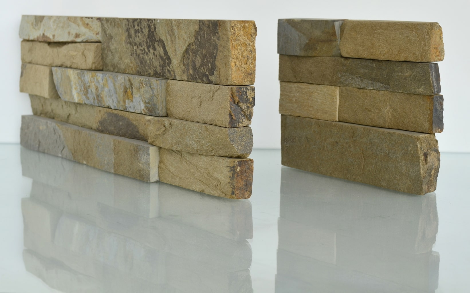 Studio Shot of a Natural End Panel of the Norstone Standard Series Rock Panel in Ochre Blend