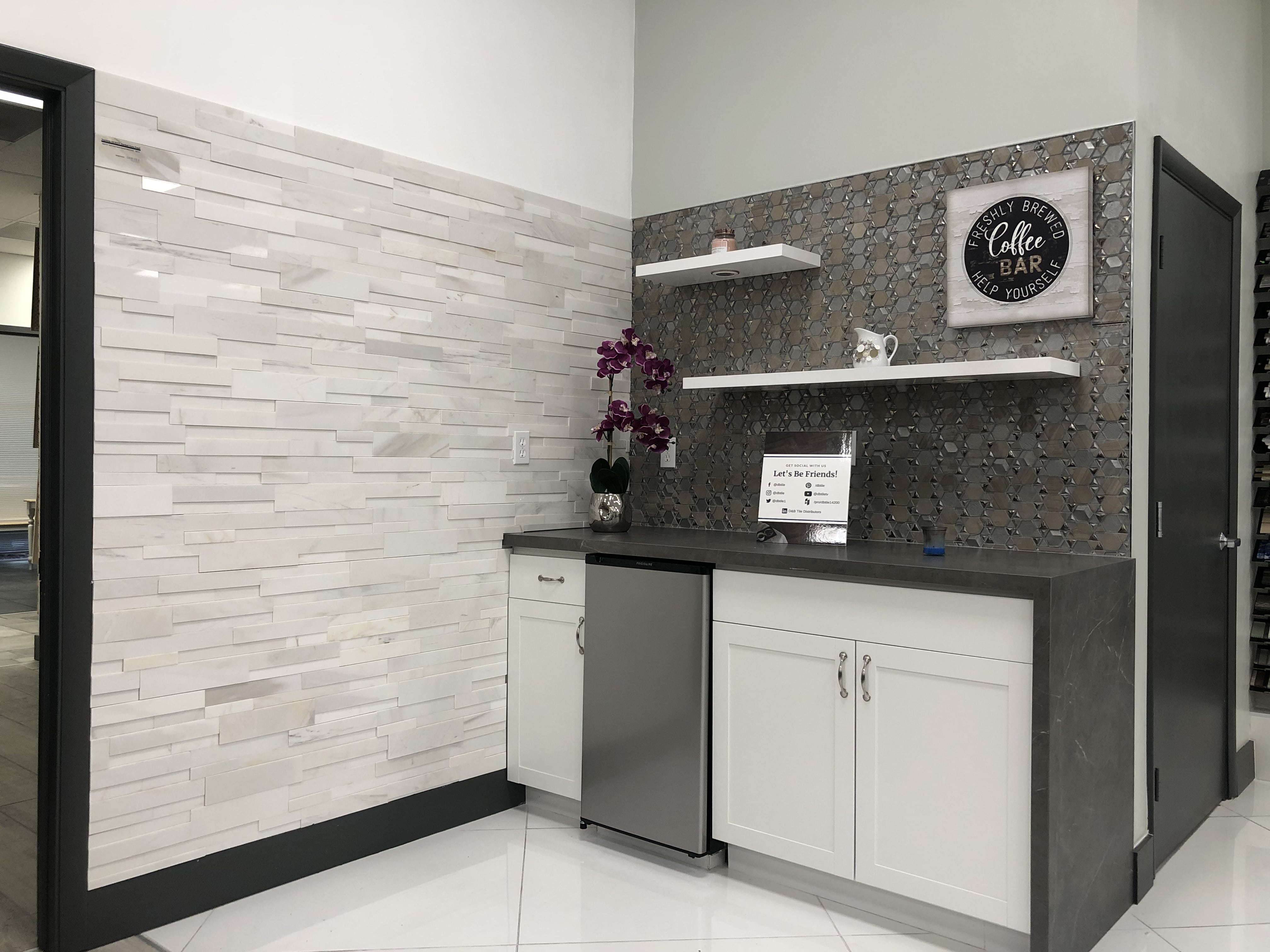 Norstone White Marble Aksent 3D Stone Panels on Feature Wall in Tile Showroom