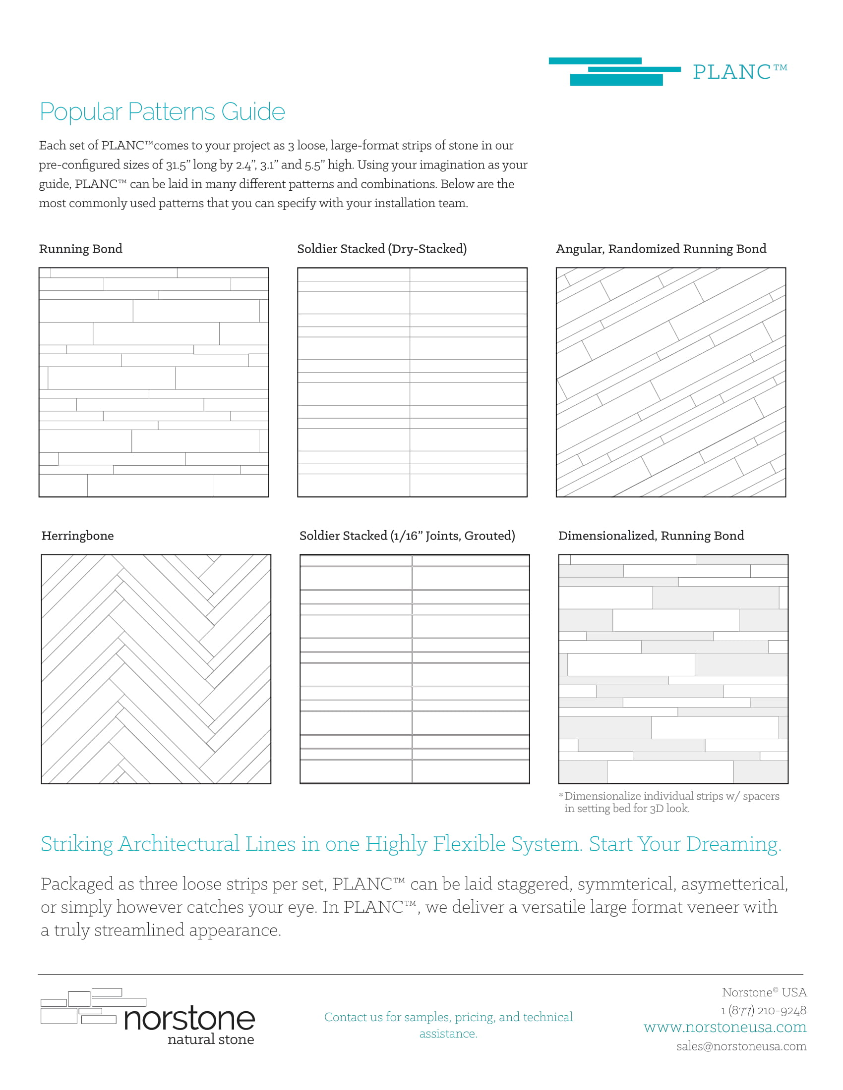 Norstone Pattern Guide for the Planc Large Format Tile Series Product