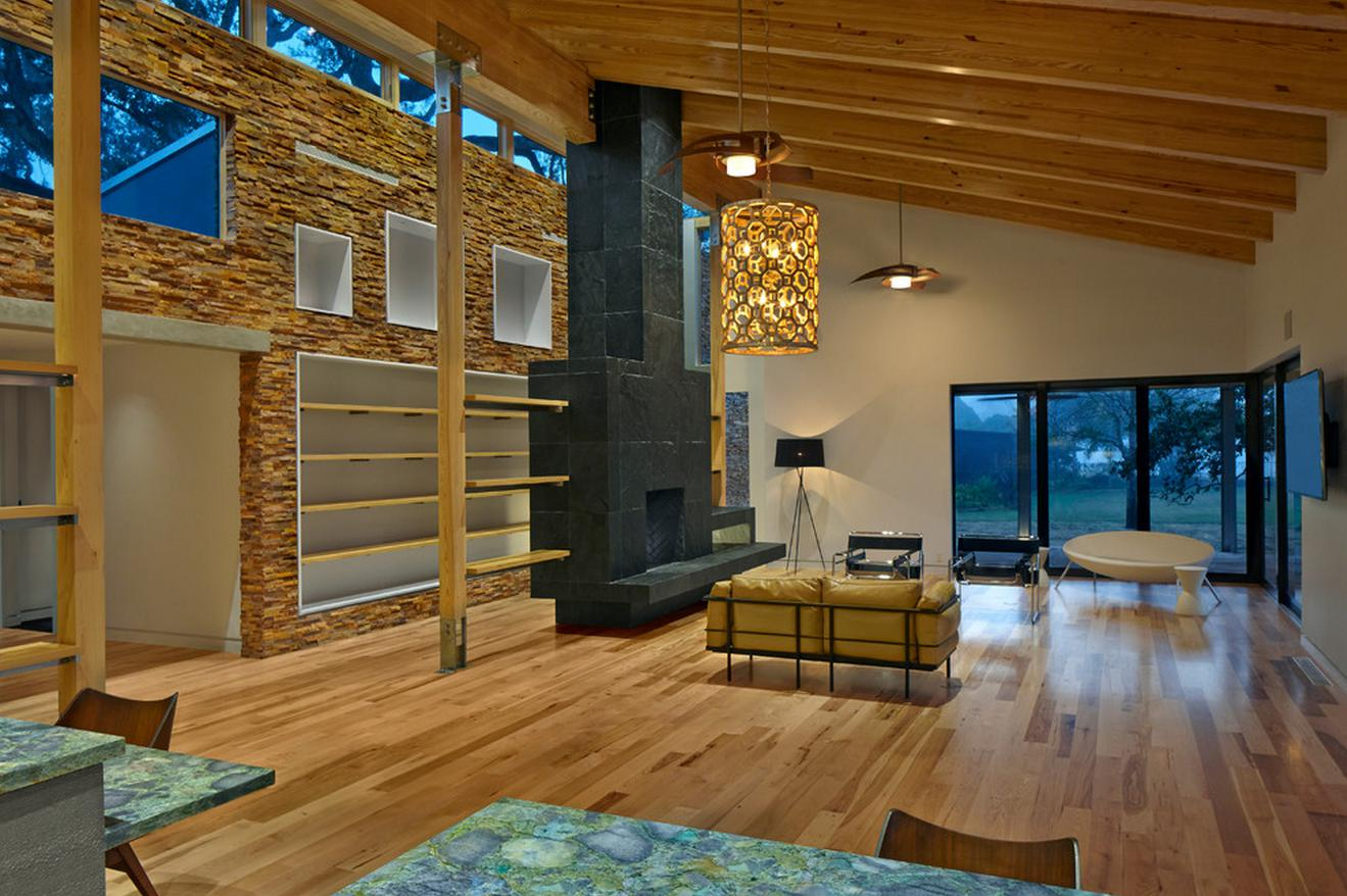 Sustainable Home Remodel Ideas - Dallas Stone Fireplace