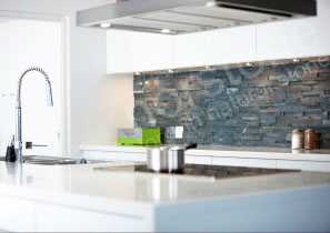 Modern stacked stone backsplash