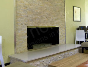Norstone Ivory Fireplace Steel Edge