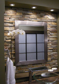 Stacked stone backsplash bathroom
