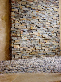 Stacked Stone Bathroom Shower Wall