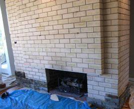Stone Veneer Over Brick In Progress