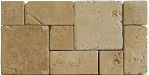 Travertine tile french pattern