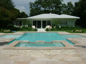 Travertine tile pool deck