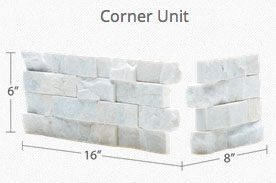 White Quartz Rock Panel Corner Unit