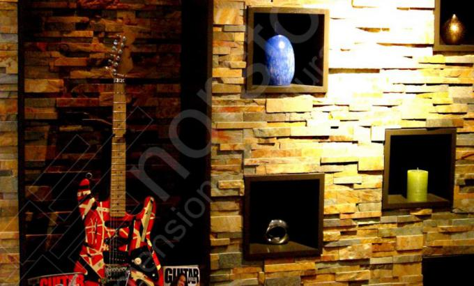 Ochre Rock Panels for Interior Stacked Stone Feature Walls