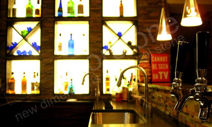 Norstone Ochre Rock Panels Used as a Natural Stone Splashback in a Basement Bar