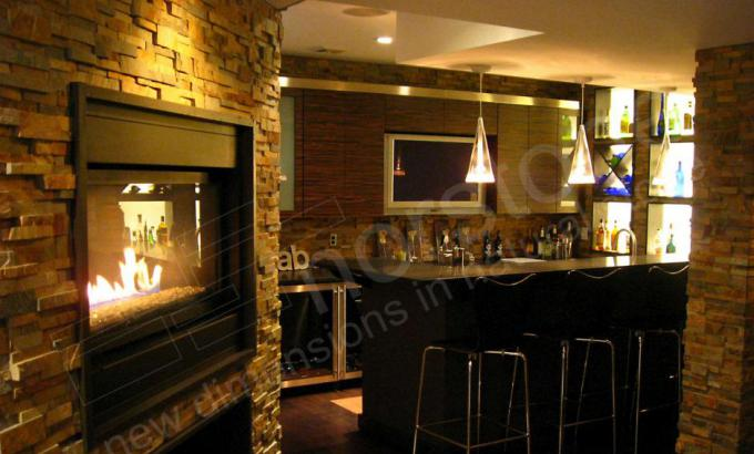 Stacked Stone Veneer for Basement Bar