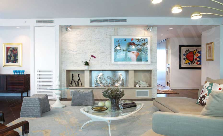 Stacked Stone Feaeture Wall Made With Norstone White Quartz Rock Panels On  An Entertainment Center Wall. Interior ...