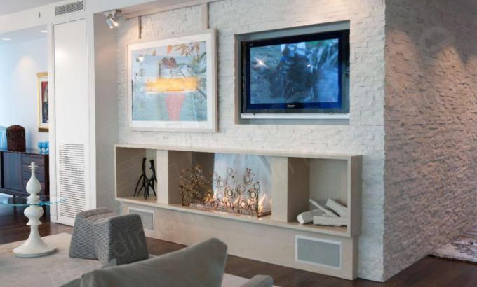 White Quartz Dry Stacked Stone Feature Wall
