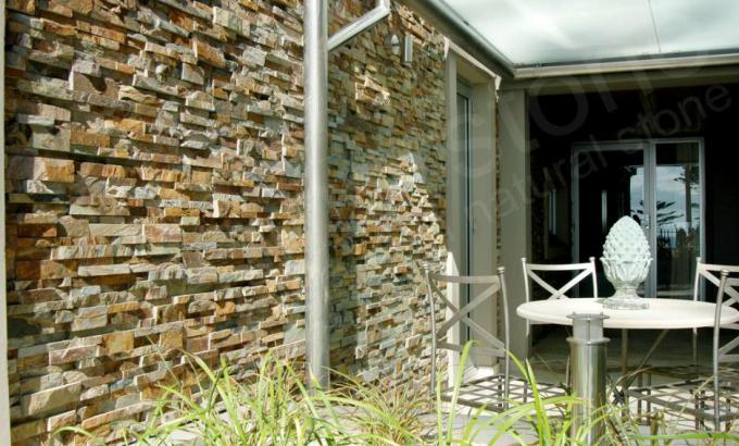 Natural Stacked Stone Veneer for a Garden Wall