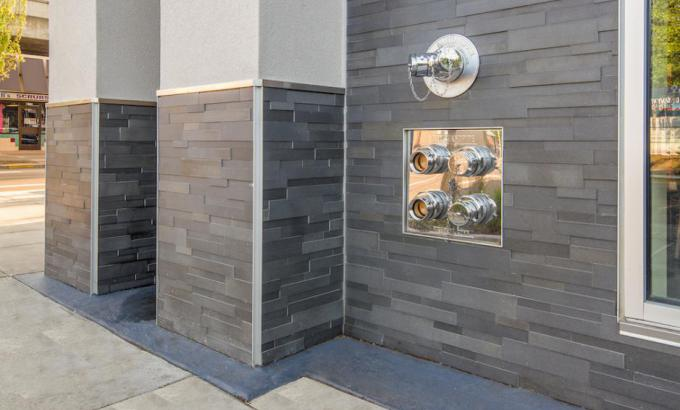 Basalt Grey Stacked Stone Cladding - Patterson Project