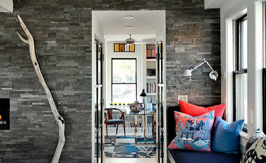 Interior Feature Wall with Grey Stacked Stone Wall Panel - Fireplace Kitchen