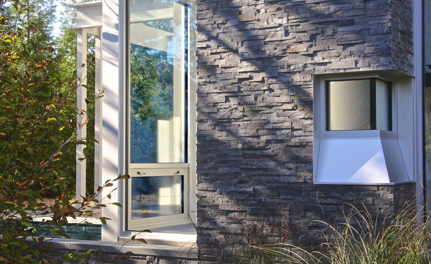 Earthy Grey Stacked Stone Veneer Panel used on Exterior home in Hamptons New Yor