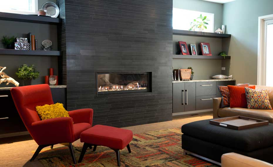 Contemporary Fireplace with smooth face Stone Veneer in Chicago