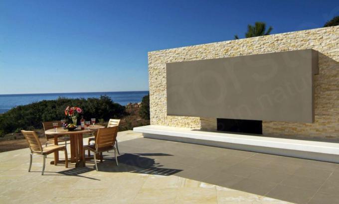 Beige Limestone Outdoor Fireplace