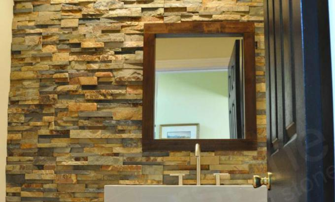 Natural Stacked Stone Veneer Bathroom