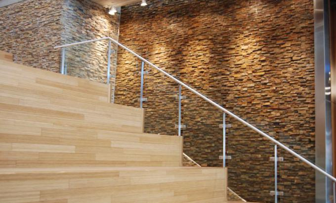 Natural Stacked Stone Veneer in a commercial water feature