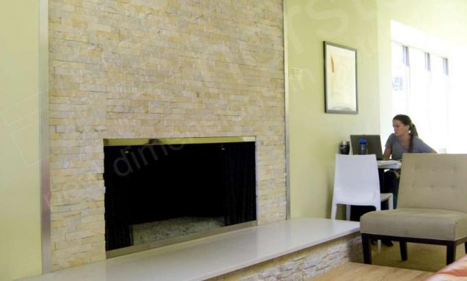 Ivory Rock Panels for Natural Stacked Stone Fireplace
