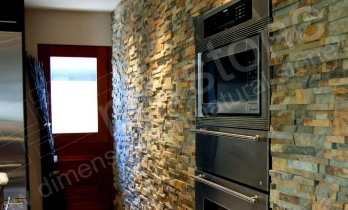 Natural Stacked Stone Veneer Kitchen
