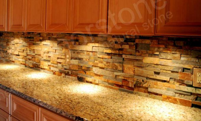 Natural Stacked Stone Veneer Backsplash