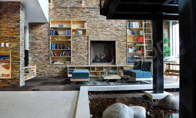 Interior Stacked Stone Wall with Fireplace