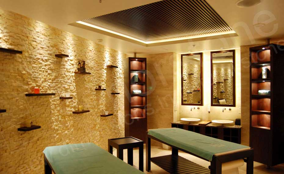Ivory Rock Panels For Modern Natural Stacked Stone Feature Walls In Interior Spa