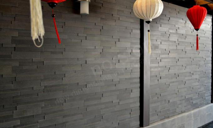 Grey Stacked Stone Exterior Wall