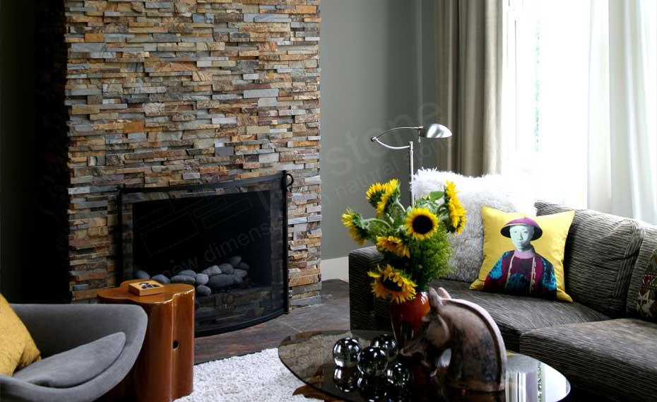 Natural Stacked Stone Veneer Fireplace in a living room made with stacked stone fireplace surround kit in Washington DC