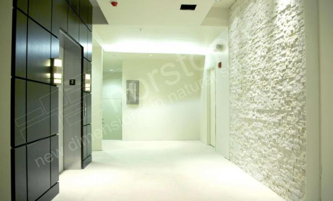 Natural Dry Stacked Stone Veneer used around an Elevator