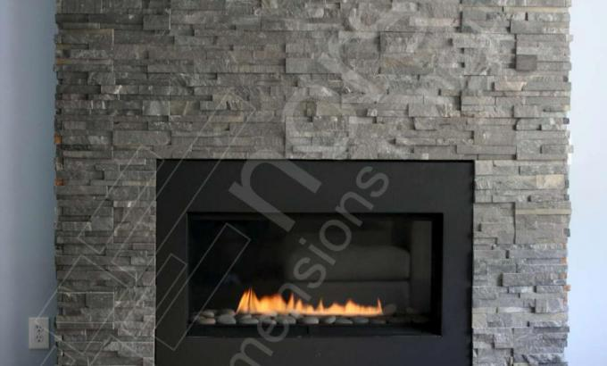 Natural Stacked Stone Fireplace