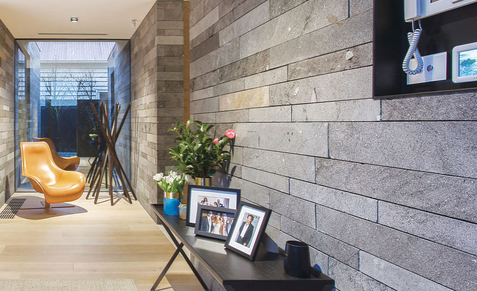 Norstone Planc Strip Stone Veneer On A Living Room Wall