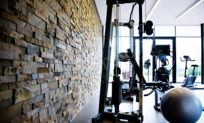 Interior Beautiful Stacked Stone Feature Wall in Gym