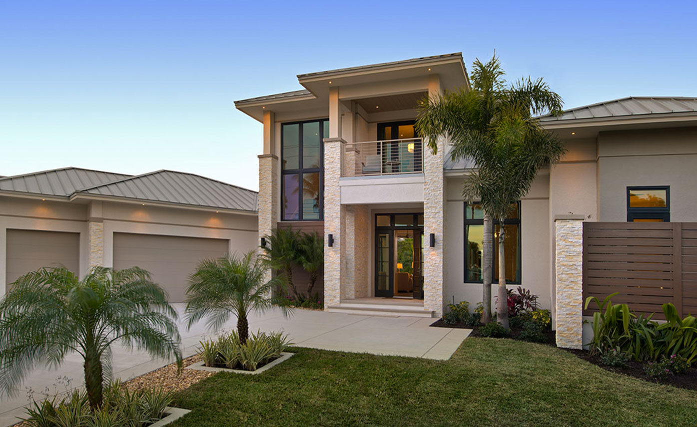 Mediterranean style stone facade on home in naples