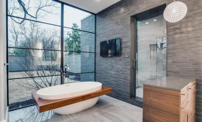 Modern Grey Basalt Stone Feature Wall