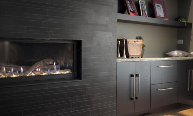 Modern Stone Veneer Fireplace
