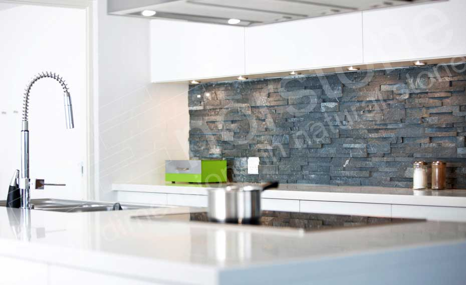 Beautiful Gray Ledgestone Panels Used in a Backsplash application Made from Norstone Charcoal Rock Panel Collection
