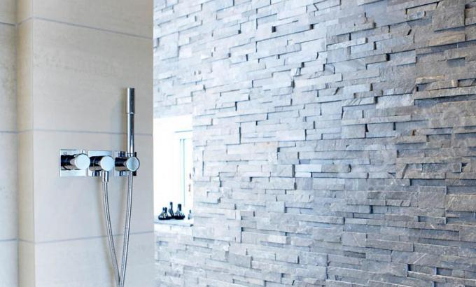 Norstone Charcoal Rock Panels Used In A Shower Natural Stacked Stone Veneer Wall Example