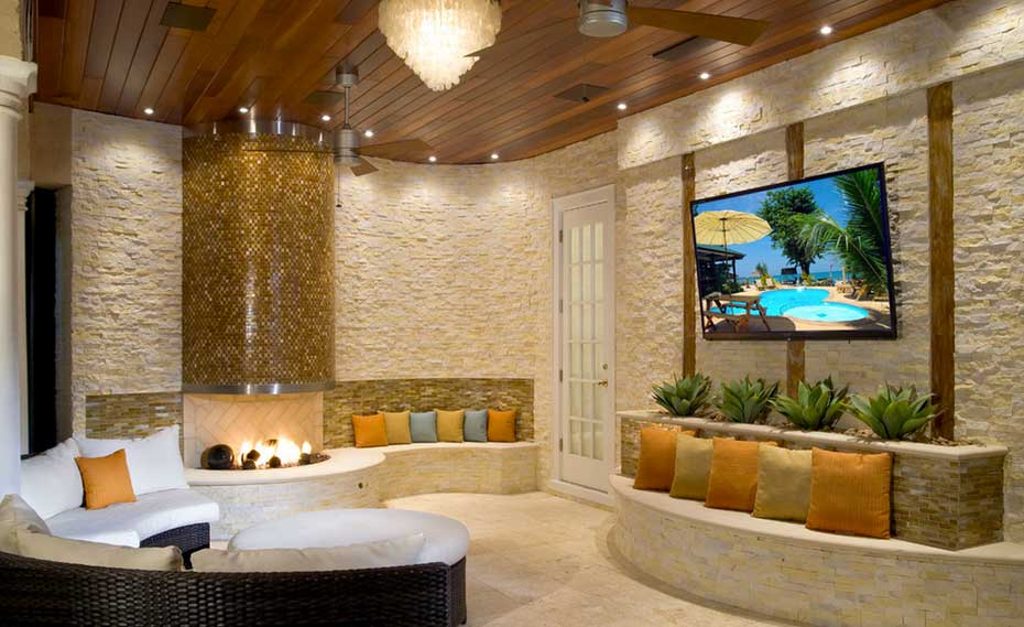 Outside Stone Fireplace Entertainment Center